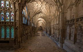 Wallpaper the nave, arch, England, architecture, Gloucester Cathedral, corridor