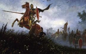 Wallpaper horse, Russia, Slavs, Olshansky Boris, on the field of Kulikovo, Peresvet