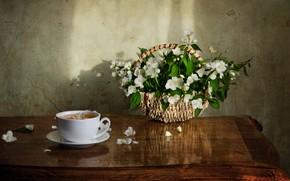 Picture table, tea, basket, Jasmine