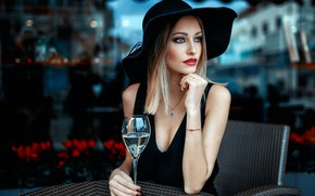 Picture decoration, glass, portrait, hat, makeup, dress, hairstyle, blonde, beauty, sitting, in black, bokeh, sexy, manicure, …