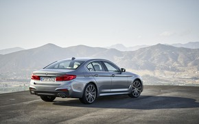 Picture the sky, asphalt, mountains, grey, BMW, back, sedan, side view, 540i, 5, M Sport, four-door, …
