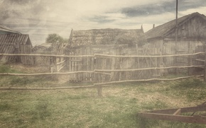Picture slate, the fence, home, roof, Village, old photo, history, hay, Vans3w, thatched roof