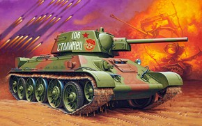 Wallpaper Soviet medium tank, thirty-four, T-34, STALINETS, The red army