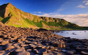 Picture sky, sea, landscape, nature, water, mountains, clouds, stones, Ireland, Giant's Causeway, rock formation