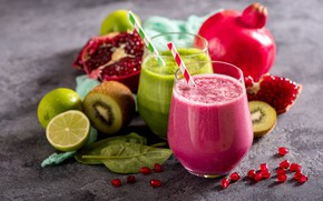 Wallpaper lime, vitamins, fruit, smoothies, smoothies, fruits, drink, garnet, kiwi, vegetables