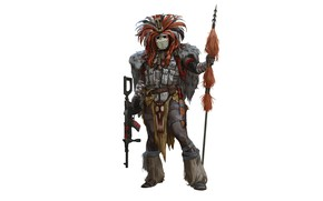 Picture weapons, warrior, costume, machine, spear