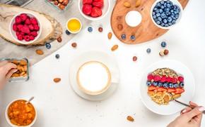 Picture berries, raspberry, coffee, Breakfast, blueberries, strawberry, nuts, honey, jam, muesli