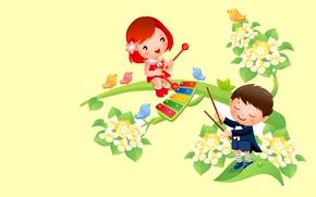 Wallpaper boy, spring, music, mood, heat, bird, art, vector, girl, flowers