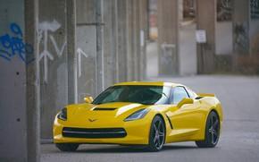 Picture yellow, background, Corvette, Chevrolet