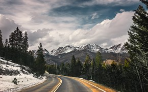 Picture winter, road, mountains