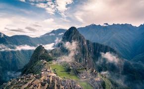 Picture Mountains, The city, The ruins, Landscape, Peru, Machu Picchu