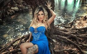 Picture look, roots, pose, river, tree, model, dress, tattoo, Stephanos Georgiou, Mircheto Ignatova