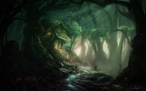 Picture forest, house, people, landscape, The Inn of the Mistic Forest