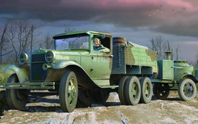 Picture USSR, GAZ-AAA, terrain, Soviet truck, field kitchen