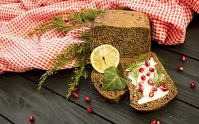 Picture lemon, garnet, Bread