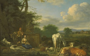 Picture oil, picture, canvas, Adriaen van de Velde, Arcadian Landscape with Resting Shepherds
