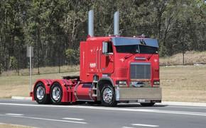 Wallpaper Red, road, Hrome, Freightliner