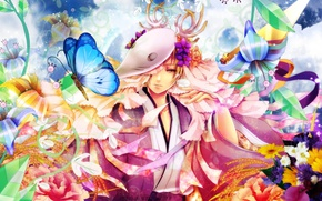 Picture the sky, clouds, flowers, butterfly, bouquet, mask, horns, ears, guy, kimono, bells, Natsume Yuujinchou, The …