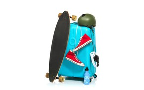 Wallpaper sneakers, Board, helmet, headphones, suitcase, white background, thermos, skate, skateboard