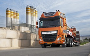 Picture road, orange, plant, industrial zone, cargo, DAF, tractor, DAF, Super Space Cab, machinery, the trailer, ...