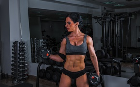 Picture Female, workout, fitness, training, dumbbell, bodybuilder, shout