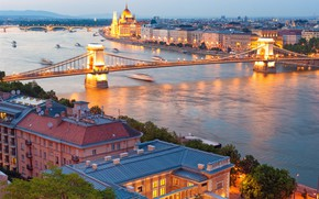 Wallpaper bridges building homes, the city, Hungary, Hungary, summer, panoramic view, the Danube river, bokeh, wallpaper., ...