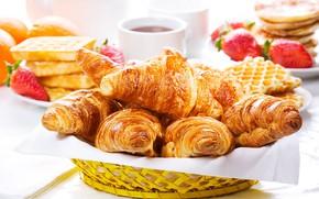 Picture tea, strawberry, cakes, croissants