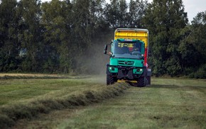 Picture field, trees, Mercedes-Benz, agricultural machinery, Unimog