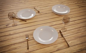 Picture table, glass, plate, Rendering, Cutlery