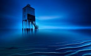 Picture sea, lighthouse, England, tide, Burnham-on-sea