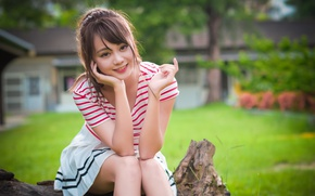Picture look, girl, smile, dress, Asian, cutie