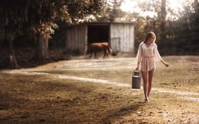 Picture summer, girl, cow, legs, robe, bokeh, cans, Stefan Häusler, milkmaid, girl barefoot, Victoria Meisel