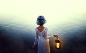 Wallpaper water, mood, girl, blue hair, lantern, Valentina Diaz, dress