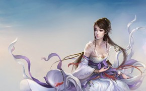 Picture girl, the wind, the game, art, fantasy, character