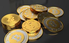 Wallpaper bitcoin, bitcoin, coins, macro