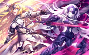 Picture girls, sword, spear, armor, gun, Fate/Grand Order, joan of arc, fate/apocrypha, joan of arc alter, …