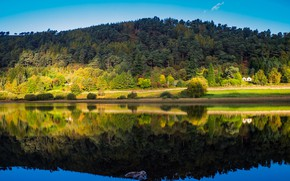Picture autumn, forest, the sky, water, the sun, trees, reflection, river, house, Ireland, Wicklow