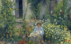 Picture landscape, picture, genre, Camille Pissarro, Julie and Louis Rudolf Pissarro Among the Flowers