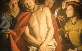 Picture oil, picture, religion, canvas, mythology, This Man, Matthias Stom, Ecce Homo