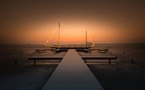 Picture winter, night, bridge, lake