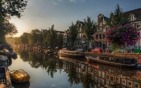 Picture street, boats, hdr, channel, Amsterdam, multi monitors, Amsterdam, Netherlands, Jordaan, pano, Netherlands, ultra hd, De …