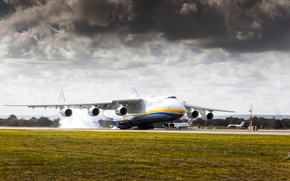 Picture The sky, Clouds, The plane, Smoke, Strip, Wings, Engines, Dream, Ukraine, Mriya, The an-225, Airlines, …
