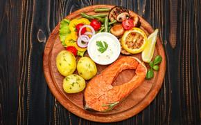 Picture lemon, mushrooms, fish, Board, pepper, vegetables, sauce, salad, fish, potatoes, vegetables, seafoods