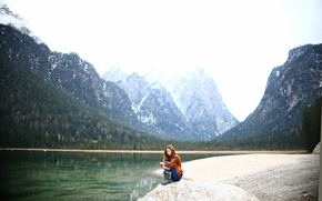 Picture girl, mountains, nature, sitting