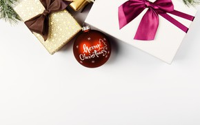 Wallpaper Christmas ornaments, presents, bow, Christmas, New Year, ball, white, gifts, minimalism, pack, red