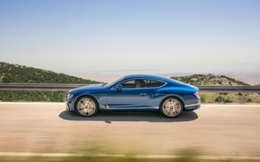 Wallpaper Bentley, Continental GT, Blue, Coupe, 2017
