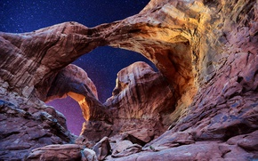 Picture the sky, stars, arch, Utah, USA, Utah, Arches National Park, Double Arch