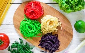 Wallpaper lime, pasta, tomato, spaghetti, color, lettuce, italian, vegetables, avocado, cutting Board, dill