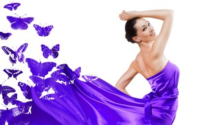 Wallpaper butterfly, pose, model, makeup, dress, brunette, hairstyle, white background, beauty, purple