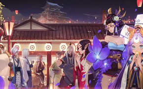 Picture the city, anime, art, characters, Onmyouji